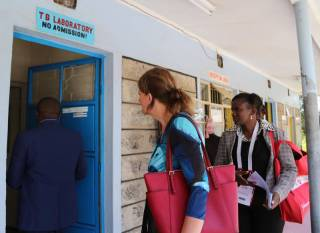 A TB laboratory supported by Global Fund. The facility provides free testing services