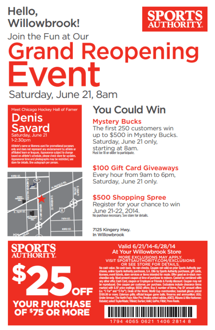 sports authority willowbrook june 18
