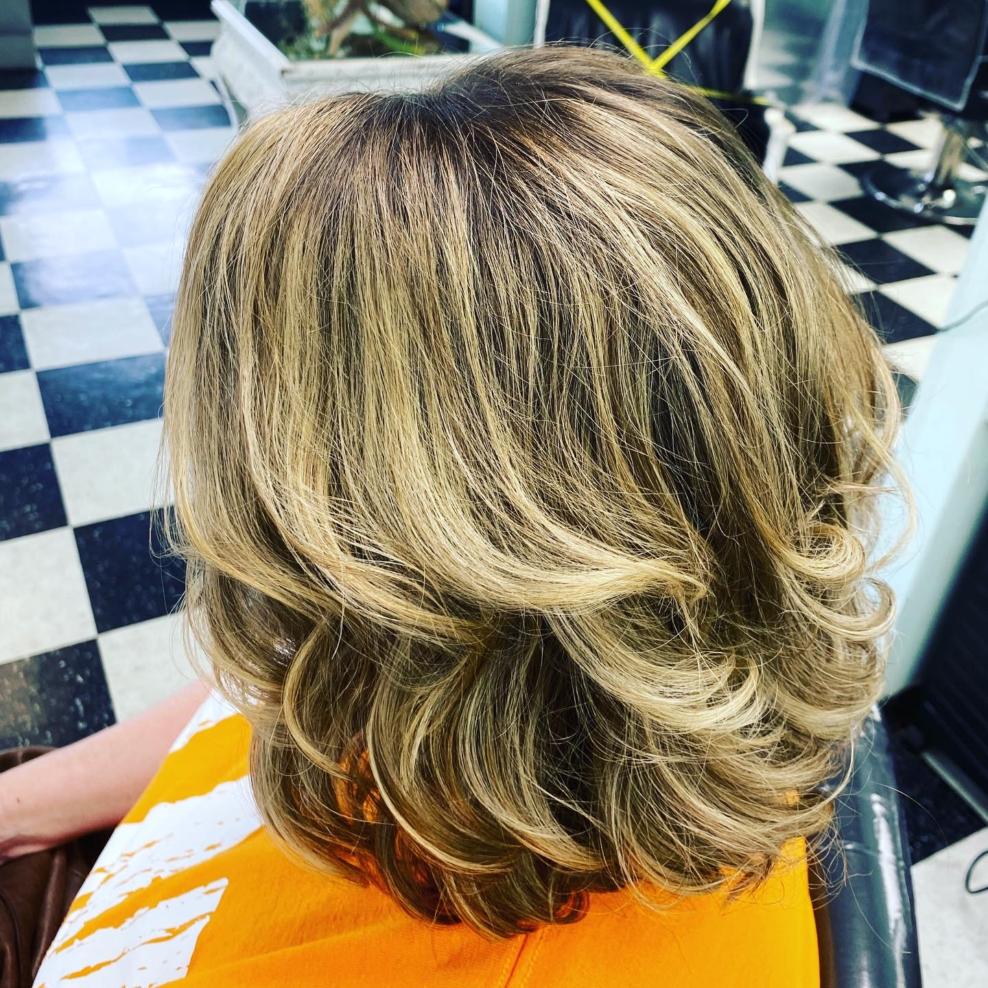 mid-length haircut with highlights