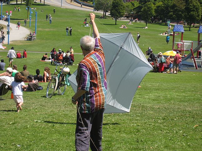 Kite flying with aerial video camera on Canada Day in Crab Park 37