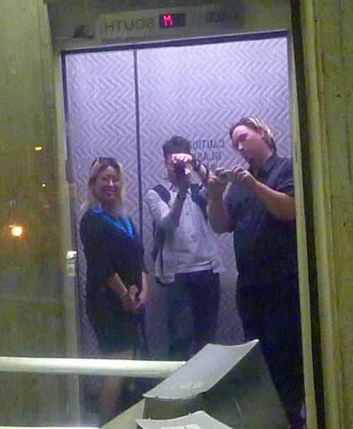 April, Alain, Peter in a CBC elevator