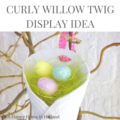 DIY EASTER BRANCH DISPLAY - Super easy and fun spring home decor idea using curly willow branches and glittery Easter eggs.