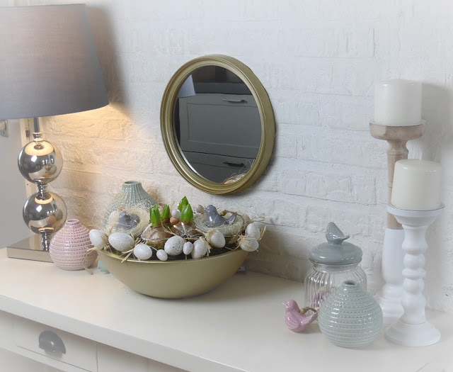 Easter And Spring Decor Accents Displayed On Side Table
