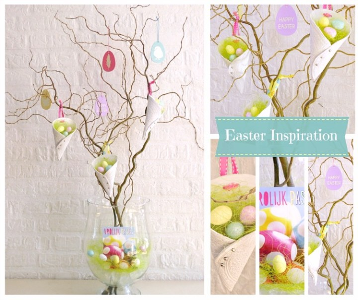 Curly Willow Branches Displaying Decorative Clay Cones And Easter Decorations
