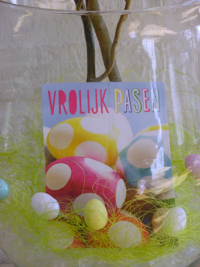 Glass Vase Displaying Easter Twig Decor And Easter Egg Post Card