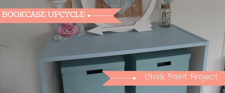 Chalk Paint Upcycle Project - old bookcase painted with Everlong 'grecian blue' chalk paint - before and after photos