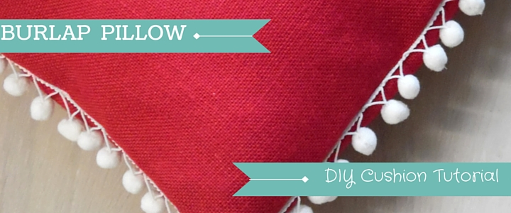 Burlap Pom Pom Cushion Tutorial