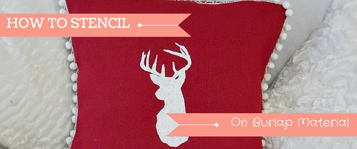 Deer Head Stencilled On Red Burlap Material