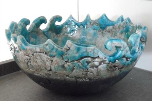 Handmade Tuquoise Raku pottery fruit bowl