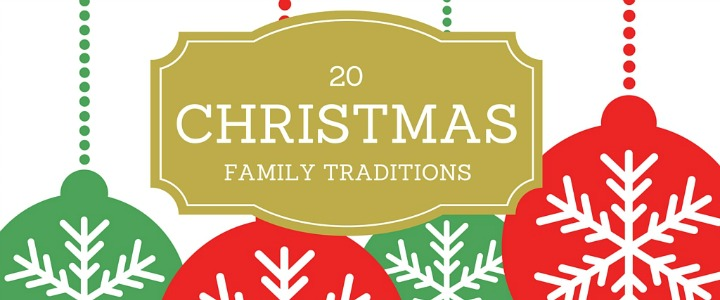 Image of baubles and text saying Christmas Family Traditions