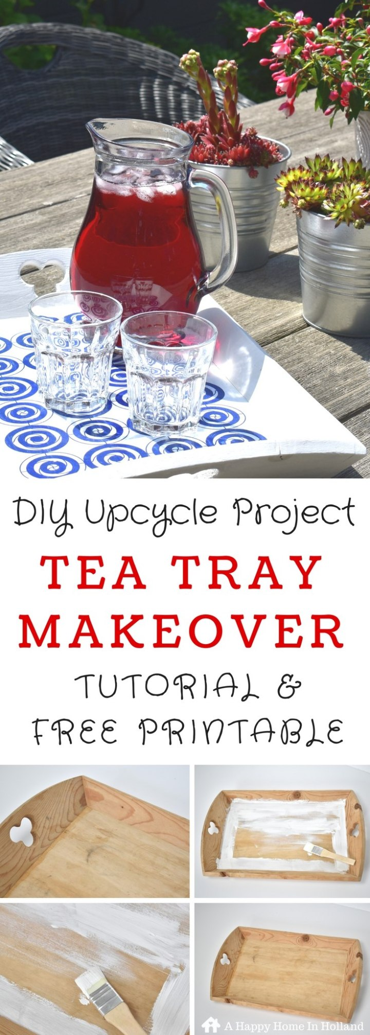 DIY Tray Makeover - Modern DIY Upcycle Project Idea Using Free Pattern Paper Printable & Mod Podge