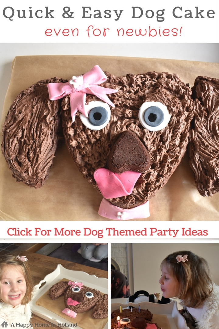 Dog Themed Chocolate Birthday Cake - Quick & easy puppy cake decor idea plus lots of other dog themed party ideas! #themeparty #kidspartyidea #birthdaycake