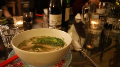Pho with fishcakes and dill