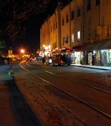 River Street at night.