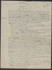 Manuscript of The Virginian, Chapter Listing And First 2 Pages Of Chapter I