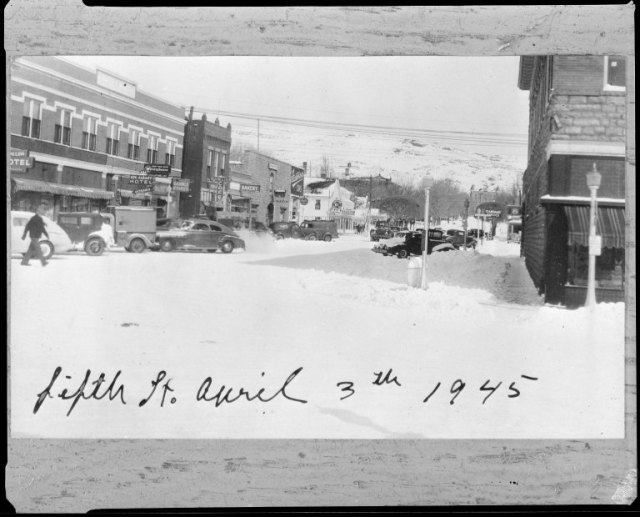 Here's some inspiration to keep the snow going well after the first day of spring . . . This image is taken in downtown Rawlins in April 3rd, 1945. Frank J. Meyers papers, Collection #5195, Box 8C, Folder 60.
