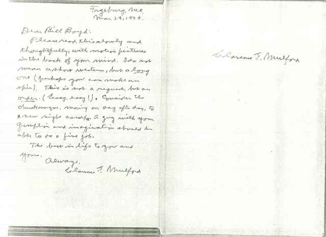 """Box 150, folder – """"Correspondence – letter (copy) from Clarence E. Mulford to Boyd re: making Hopalong Cassidy film, 1948"""""""