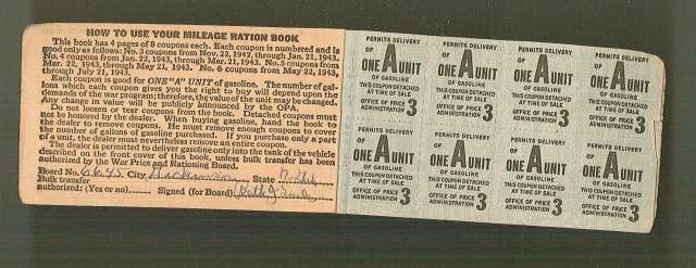 Gasoline rations points saved by my grandmother who stayed stateside.