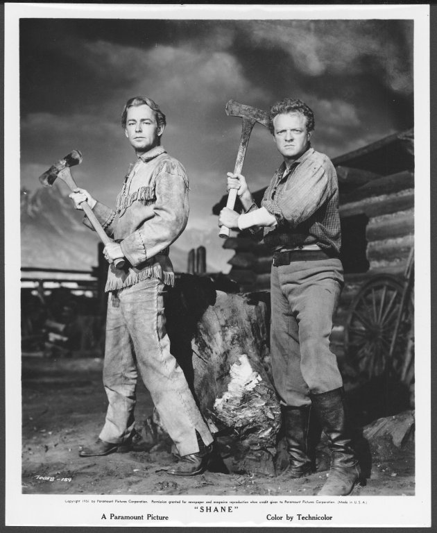 """Alan Ladd (left) and Van Heflin posing for pictures from the film Shane"""", 1951, University of Wyoming, American Heritage Center, Jack W. and Louise Schaefer Papers, #430, Box 25, Folder 9."""""""