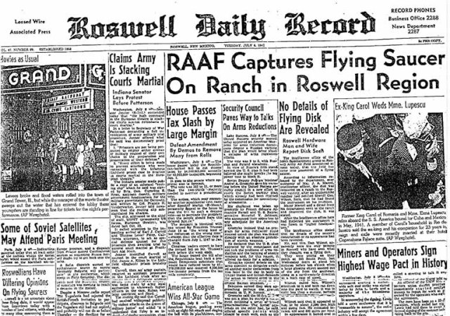 """The """"Roswell Daily Record"""" from July 9th, 1947, announcing the discovery of wreckage near Roswell, NM."""