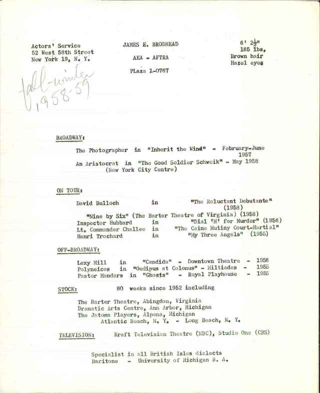 """Brodhead's acting """"resume"""" on the back of a montage of headshots. Box 41, Folder """"Biographical Photos, 1941-1970,"""" James E. Brodhead papers, #7389. American Heritage Center, University of Wyoming."""