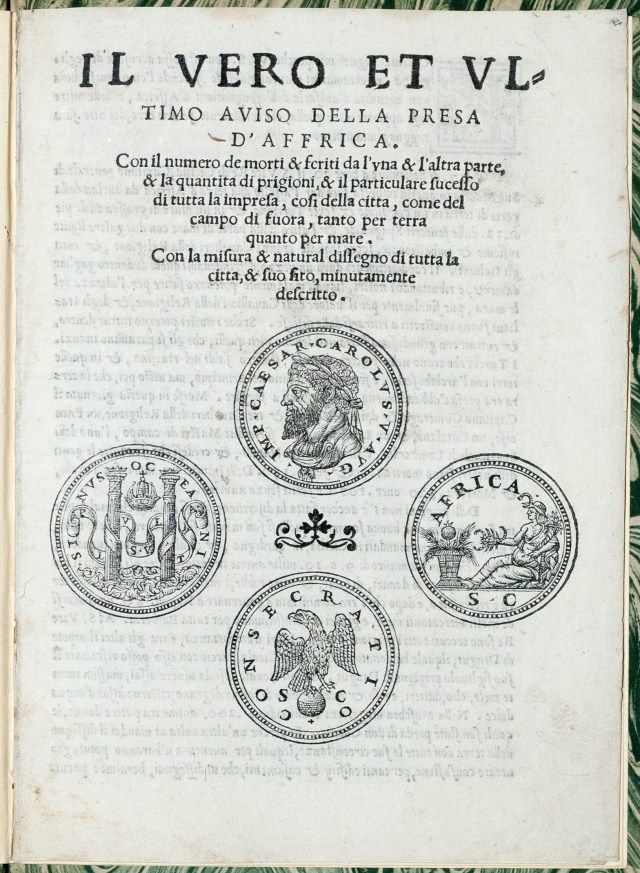 Title page from the pamphlet, which includes a medallion woodcut of the Holy Roman Emperor Charles V.