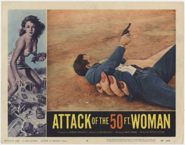 """Lobby card from """"Attack of the 50 Ft Woman,"""" Box 141, Forrest J Ackerman Collection, # 2358. UW American Heritage Center."""