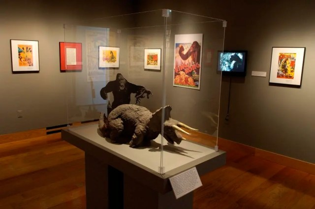 "The triceratops appears here with his ""King King co-star to give you a sense of his size in the film.  From the exhibit, ""Terror in the Theater: Fifties Fears,"" on display at the UW Art Museum during the 2011 Fall Semester."