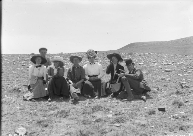 Geology class, Professor A.C. Boyle at right,  June 1912. Samuel H. Knight Collection, Accession Number 400044, Box 86. University of Wyoming, American Heritage Center.