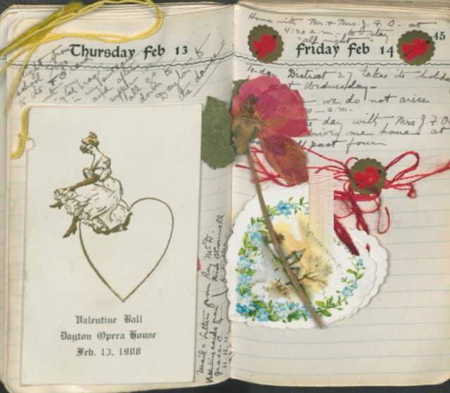 Dance card, pressed flower, and paper valentine pasted in a diary, 1908.  Edith K.O. Clark papers, #12580, Box 1.
