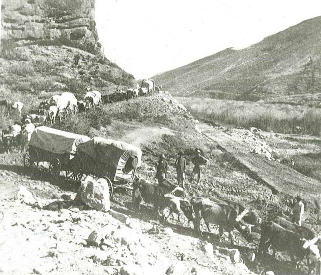 Photo of Mormon trail, used as example of pioneers and westward expansion. Photofile: Trail-Oregon-W.H. Jackson Art. University of Wyoming, American Heritage Center.