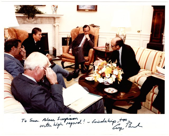 Al Simpson meeting with President Ronald Reagan and staff about immigration reform, 1981. Alan K. Simpson papers, #10449, Box 144, Folder 2. University of Wyoming, American Heritage Center.