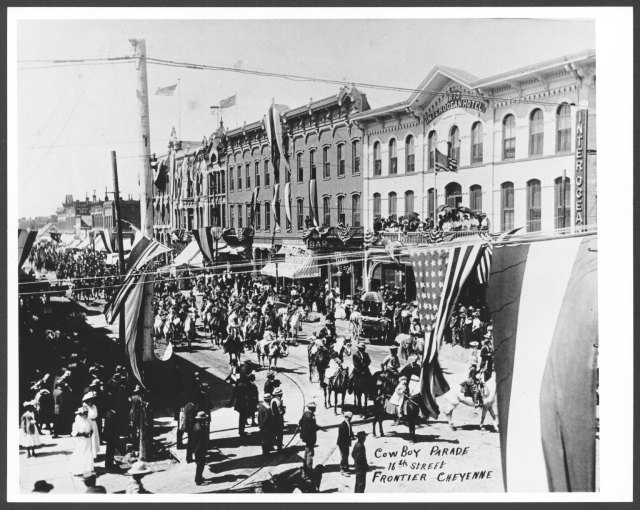 Cheyenne Frontier Days parade, early 20th century.  J.S. Palen papers, #10472, Box 24, Folder 1. University of Wyoming, American Heritage Center.