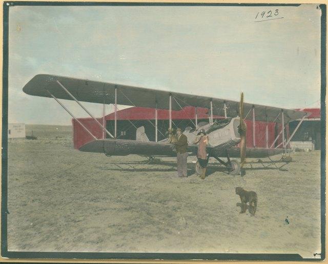 Aviation scene from Richard Leferink scrapbook, 1923-1944. Richard Leferink Scrapbook, #8979, Box 1, University of Wyoming, American Heritage Center.