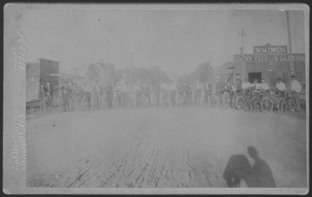 Laramie Bicycle Club members at the corner of 3rd and Ivinson in Laramie. They look as if they could be rolling into town for a rest stop! Elmer F. Lovejoy Papers, Collection #176, Box 1, Folder 20.