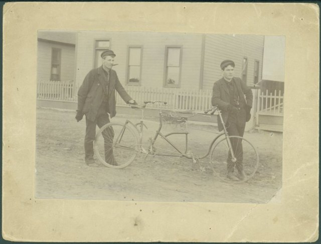 Here's one way to make the miles go by faster--on a bicycle built for two! Elmer Lovejoy (left) with a tandem bicycle he built in 1893. Elmer F. Lovejoy Papers, Collection #176, Box 1, Folder 21, Negative Number 1335. American Heritage Center, University of Wyoming.