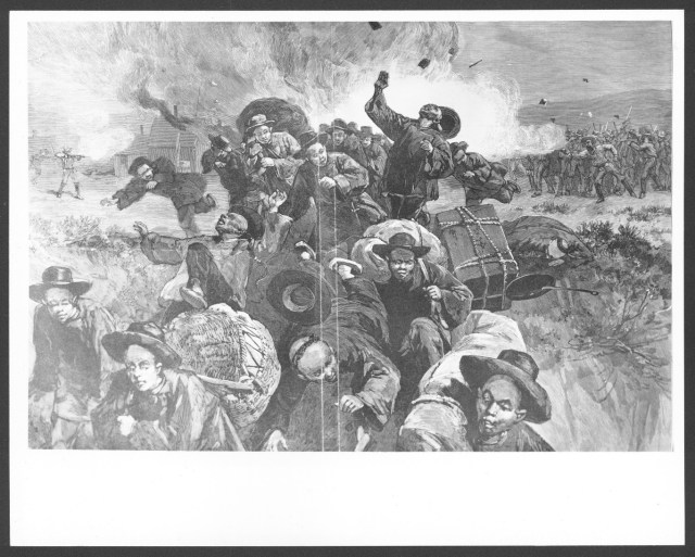 Black and white drawing of Chinese men fleeing a group of armed white men behind them. The background has smoke from fires and guns.