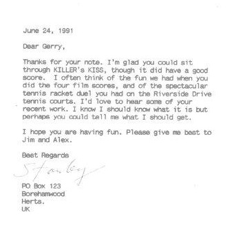 Letter from Kubrick 1991 box 1