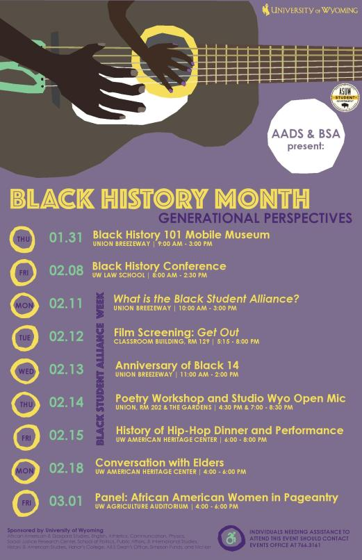 image with text listing Black History Month programs