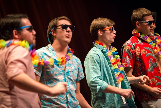 four men in beach t-shirts, leis and sunglasses singing