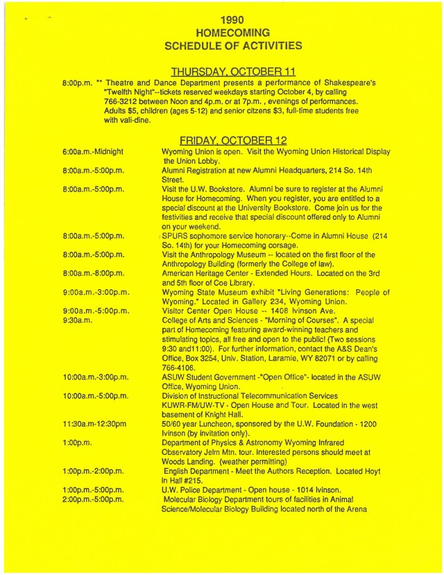 yellow paper with schedule of events listed