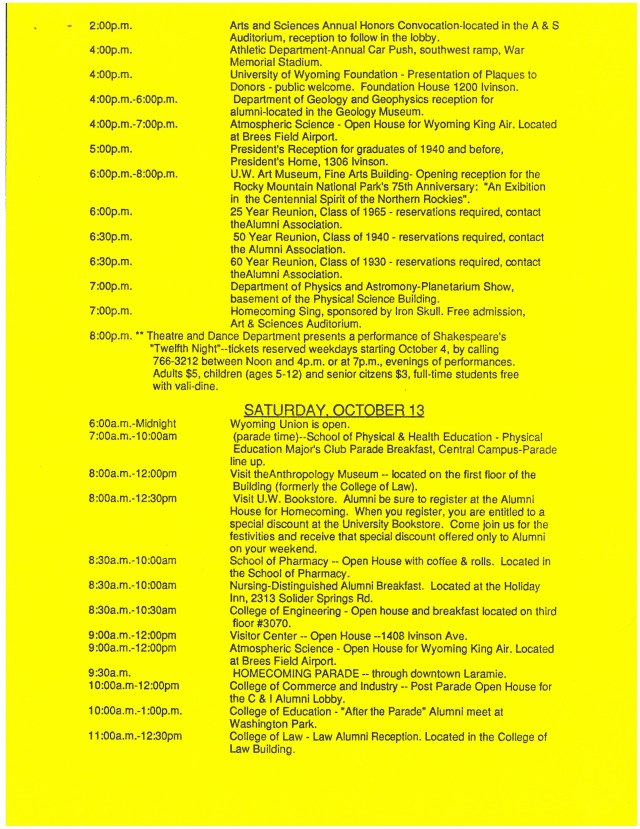 yellow paper with text of schedule of activities
