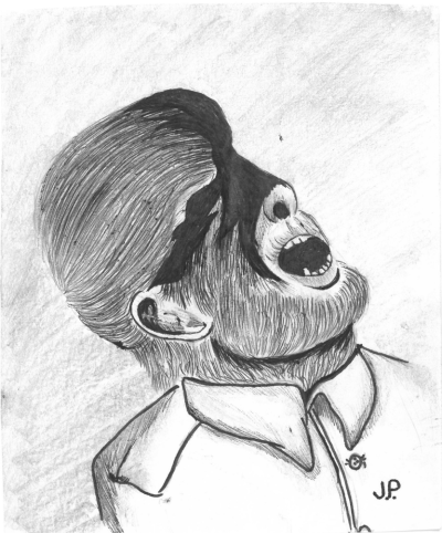pencil drawing of a werewolf