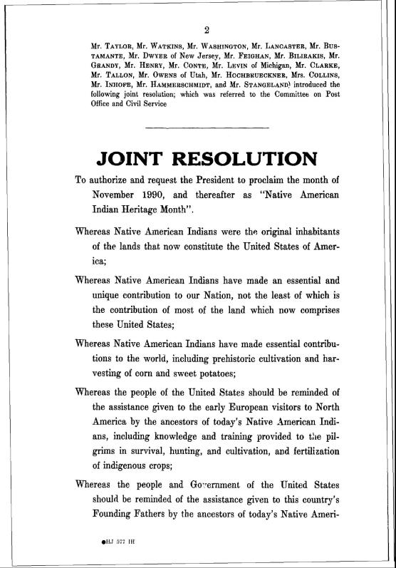 "joint resolution from U.S. Government for ""Native American Indian Heritage Month"""