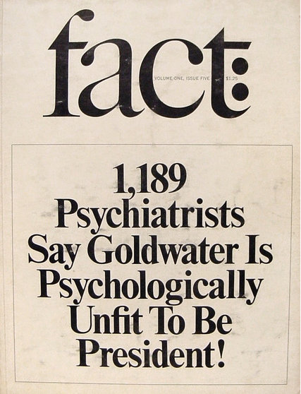 Cover of Fact magazine in 1964 in which psychiatrists assert that Barry Goldwater is unfit for office. Ralph Ginzburg papers, UW American Heritage Center.