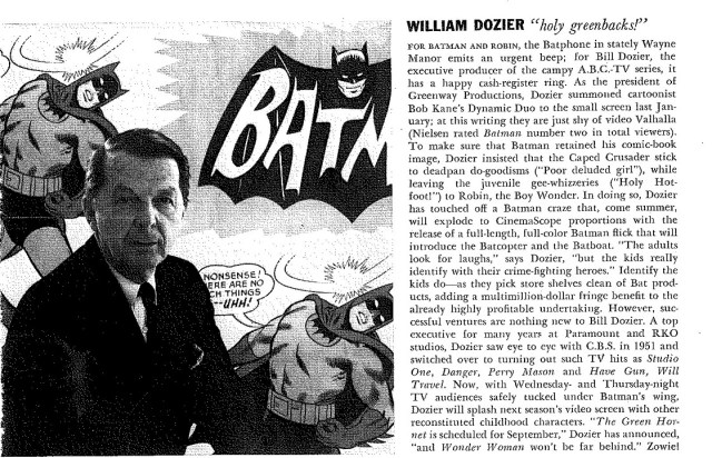 "William Dozier, Executive Producer of the television series ""Batman"" was featured in an article about the series, ca. 1966. William Dozier papers, UW American Heritage Center."