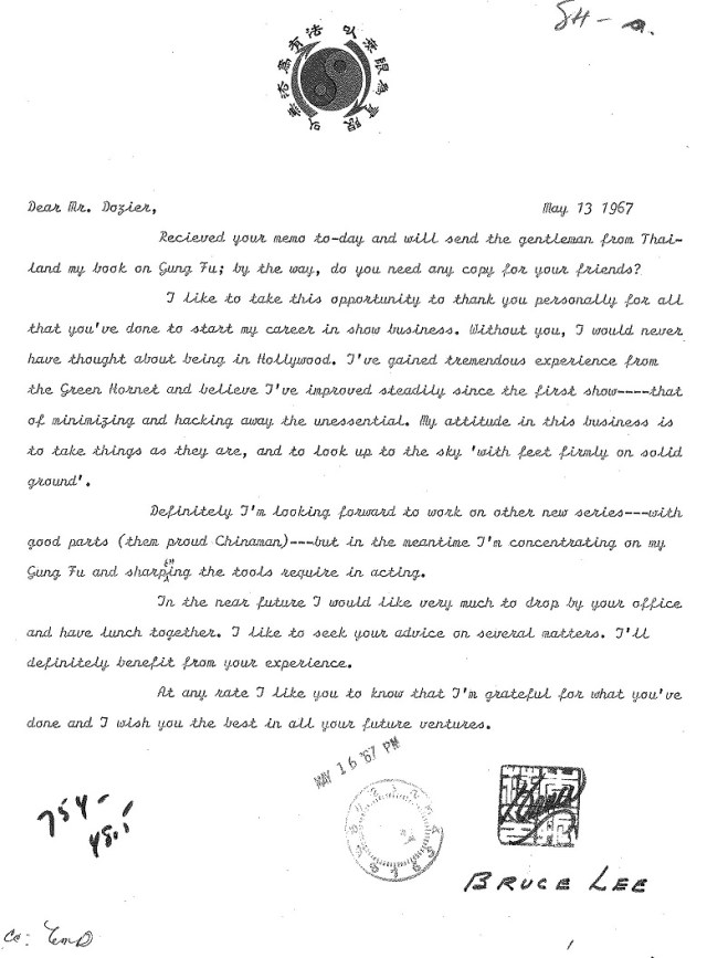 Letter from Bruce Lee to William Dozier expressing gratitude for his role in the television series, The Green Hornet. William Dozier papers, UW American Heritage Center.