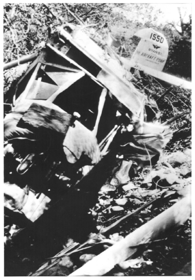 "Martin Jensen captioned this photo, ""This picture was the end of the Lion flight. I had repeatedly warned the Ryan Engineers that it could not get over the Mountains. They compared it to Lindbergh's flight, but he had 48 foot span and I only had 42 foot span. Their reasoning was based on theory not on facts."" Box 1, Martin Jensen papers, American Heritage Center, University of Wyoming."