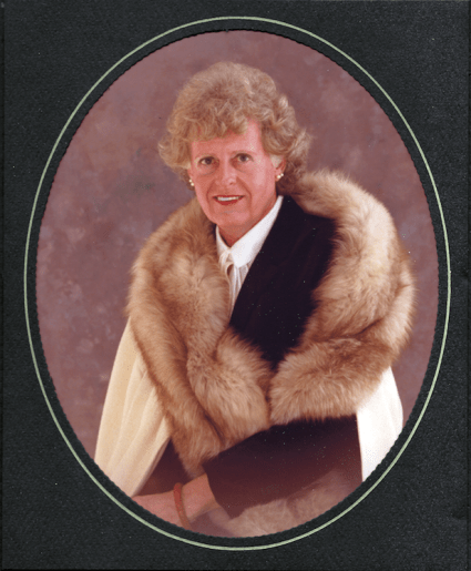 Shannon Moffat in a formal portrait with a fur stole, ca. 1980. Photo courtesy of her son Ben Moffat.