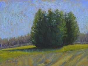 """Sentinals in the corn field Pastel on textured board 16"""" x 12"""""""